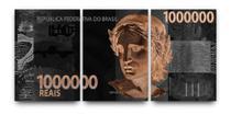 Quadro Decorativo Nota De 1 Milhão De Reais Kit 3 Peças - Neyrad