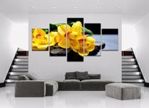 quadro decorativo  orquídea amarela meditação sala quarto 5 peças - LERON