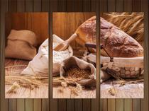 Quadro Decorativo Pães Tortas Padarias Cafeterias Gourmet Com 3 peças Com Moldura - Vital Quadros