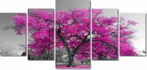 Quadro Decorativo Paisagem Arvore Com Flores Coloridas 5 Peças Para Sala 180x60 - Quadros Decorativos