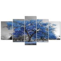Quadro Decorativo Paisagem Arvore Vida Azul  Sala Quarto - Creative Frames