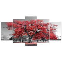 Quadro Decorativo Paisagem Arvore Vida Vermelho Sala Quarto - Creative Frames