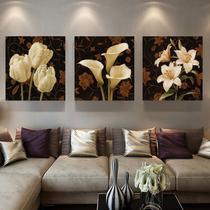 quadro decorativo paisagem flores branca fundo amarronzado sala 3 peças - LERON