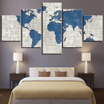 quadro decorativo paisagem mapa mundi  quebra cabeça azul  e branco sala 5 peças - Leron