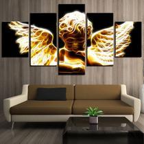 quadro decorativo paisagem religioso anjo dourado sala 5 peças - Leron