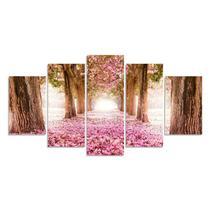 Quadro Decorativo Para Sala Casa Arvore Cerejeira Rosa - Show Vendas