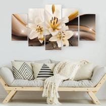 Quadro decorativo para sala e quarto lírio iluminado dourado 5 peças - LERON
