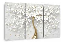 Quadro Decorativo Para Sala Quarto Flores Cerejeiras 3 Telas - Wall Frame