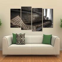 Quadro Decorativo Piano Antigo Mosaico Em Tecido 4 Peças 1 - Wall frame