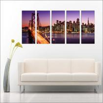 Quadro Decorativo Ponte Estados Unidos Mosaico Com 5 Peças - Vital quadros do brasil