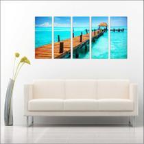Quadro Decorativo Praia Ponte Mar Paisagens Mosaico 5 Peças GG6 - Vital quadros do brasil