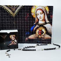 Quadro Decorativo Quebra-Cabeça Imaculado Coração de Maria de 300 peças + Terço Especial - Reidopendrive