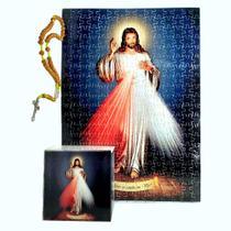 Quadro Decorativo Quebra-Cabeça Jesus Misericordioso de 300 peças + Terço Especial - Reidopendrive