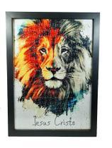 Quadro Decorativo Quebra-Cabeça Leão de Judá de 300 peças + Terço Especial - Reidopendrive