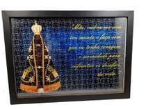 Quadro Decorativo Quebra-Cabeça Nossa Senhora Aparecida de 300 peças + Terço Especial - Reidopendrive