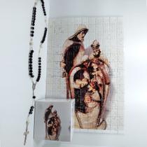 Quadro Decorativo Quebra-Cabeça Sagrada Família de 300 peças + Terço Especial - Reidopendrive