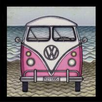 Quadro Decorativo Retrô VW Kombi Rosa e Branca 25x25cm - Decore pronto