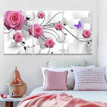 Quadro Decorativo Sala 120x60 Mosaico Flores Rosas Abstrato - Iquadros