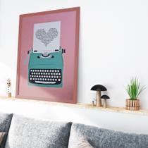Quadro Decorativo Sala Maquina De Escrever Rose Gold A3 - Lima Decora