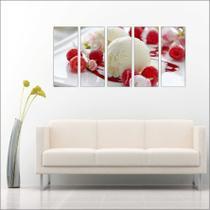 Quadro Decorativo Sorvete Sorveterias Gourmet Mosaico 5 Peças GG2 - Vital quadros do brasil