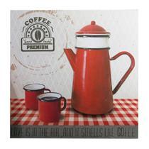 Quadro Decorativo Tela 28X2,5X28cm 3D Teapot Vermelho Urban -