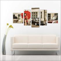 Quadro Decorativo Umbrella Guarda Chuva Mosaico Moderno 5 Peças TT5 - Vital