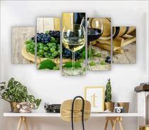 Quadro Decorativo Vinho Flor Mosaico 5pc Sala Jantar Quarto - Premium Art Decoracoes