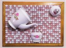 Quadro em mosaico bule e xícara 50 cm - Myo Atelier