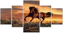 Quadro em Mosaico Cavalo Artistico CrossArt Paisagem Animal Sala 5Pçs 120x60cm -
