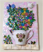 Quadro em mosaico rosa e branco 45 cm - Myo Atelier