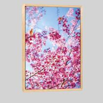 Quadro Floral Árvore De Cerejeira 95x63cm Moldura Natural - Decora Online
