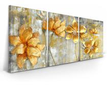 Quadro Flores Douradas Abstrato 120x60 Para Sala Mosaico - Neyrad