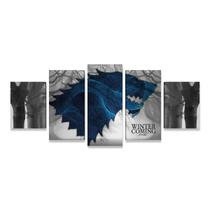 Quadro Game Of Thrones Stark Lobo Decorativo Tela Tecido GRD - Bimper