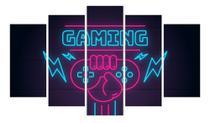 Quadro Gamer Mosaico Decoração 5 Peças Jogos Video Game 05 - Neyrad