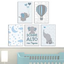 Quadro infantil Elefante e balão Azul Kit 5 20x30cm Decorativo Poster Painel Quarto Criança Lindo Para Decorar - D Lima produtos
