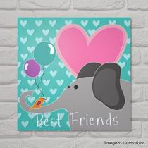 Quadro Infantil Elefante e Pássaros Melhores Amigos - Cololóla decoração