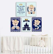 Quadro infantil Urso Príncipe Azul Marinho Kit 5 20x30cm Decorativo Poster Painel Quarto Criança Lindo Para Decorar - D Lima produtos