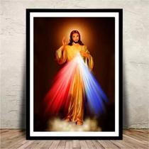 Quadro jesus cristo misericordioso vidro - 20x30cm - Armazem