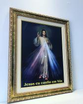 Quadro jesus misericordioso grande com vidro e moldura - Armazém Católico