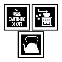 Quadro Kit Com 3 Para Decoração de Cozinha e Churrasqueira Formato Cantinho Do Café Chaleira Em Mdf - Uno Mdf
