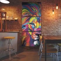 Quadro Leao colorido moderno na vertical em 3 peças - Quadros mais