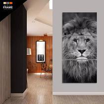 Quadro Leão Em Preto E Branco Moderno Mosaico 3 Peças 120x60 - Wall Frame