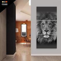Quadro Leão Moderno 3 Peças Sala Hall Decorativo Mosaico - Neyrad