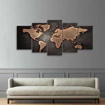 Quadro Mapa Mundi Mosaico 5 Peças Sala Quarto Escritórios - Pri D'Cora