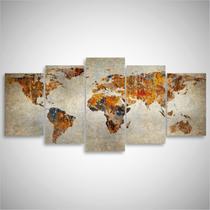 Quadro Mapa Mundi Rústico Para Sala Quarto Escritório 125x60 - Wall frame