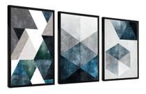 Quadro Mosaico 3 Peças Abstrato Tons Azul E Neutro Moldura - Neyrad