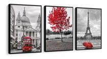 Quadro Mosaico 3 Peças Árvore Vermelha, Paris E Londres - Neyrad