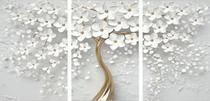 Quadro Mosaico 3 Peças Cerejeira Branca E Dourado/árvore - Neyrad