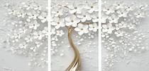Quadro Mosaico 3 Peças Cerejeira Branca E Dourado/árvore - Paradecoração