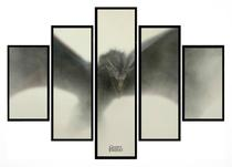 Quadro Mosaico 5 Partes Game Of Thrones Dragon Moldura Preta Art e Cia